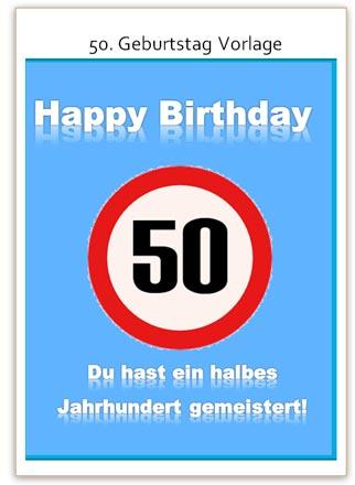 Witzige karte zum 50 geburtstag als vorlage zum ausdrucken - Witzige karten kostenlos ...
