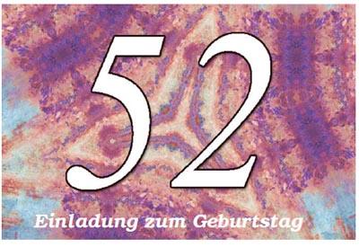 52. Geburtstag Einladungskarte