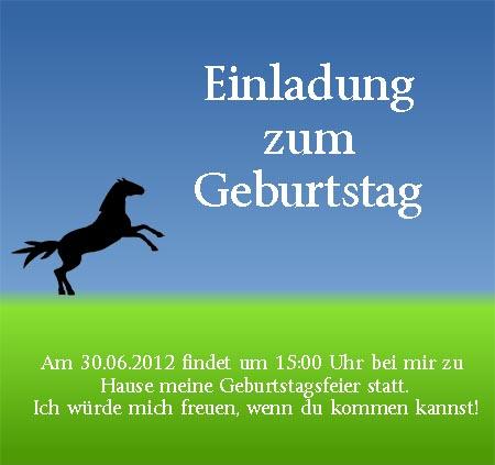 Pferde Einladungskarte zum Geburtstag