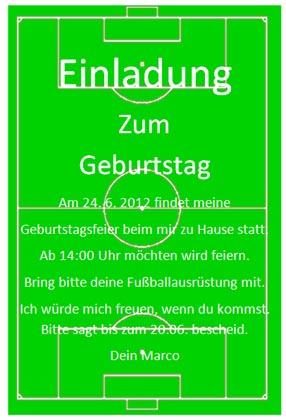 Einladungskarte Fu�ball f�r Kinder