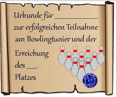 Urkunde Bowling Vorlage