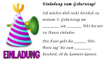 Muster fr Einladung zum 5. Geburtstag - Vordruck