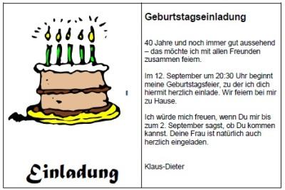 Texte und Reime für Geburtstagseinladungen zum 40.. Ob lustiger ...