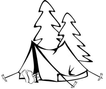 Zelt Malvorlage zum Camping - Ausmalbild Zelten