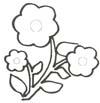 Blühende Blumen Malvorlage - Ausmalbild für Kinder