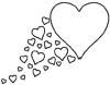 Herz mit Schweif aus Herzen Malvorlage - Ausmalbild