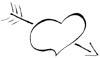 Malvorlage Herz mit Pfeil - cooles Herz Ausmalbild
