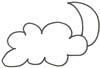 Mond und Wolken Malvorlage - kostenlose Ausmalbild