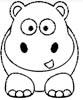 Nilpferd Malvorlage - lustiges Flusspferd Ausmalbild