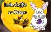 Ostergrüße mit Osterhasen als Vordruck für eine Karte zu Ostern