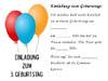 Vorlage Einladungskarte zum 3. Geburtstag kostenlos