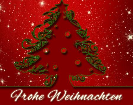Christbaum mit Weihnachtswünschen