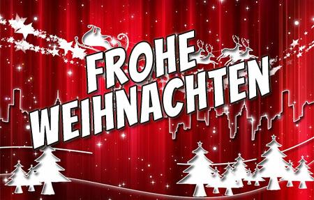 Weihnachtsmann auf rotem Hintergrund wünscht frohe Weihnachten