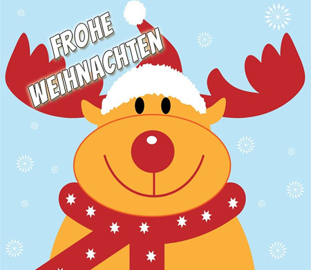 Lustiges Rentier wünscht frohe Weihnachten