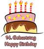 Glückwünsche zum 14. Geburtstag