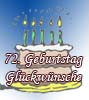 Glückwünsche zum 72igsten