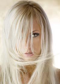 Blond lange Haare