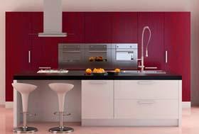 k che rot gestalten rote k chenm bel. Black Bedroom Furniture Sets. Home Design Ideas